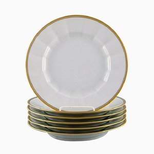 Dinner Plates in Porcelain with Gold Border from Royal Copenhagen, 1990s, Set of 6