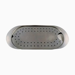 Large Cylinda Line Fish Dish in Stainless Steel by Arne Jacobsen for Stelton, 1970s