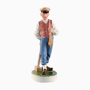 Vintage Porcelain Farmer Boy Figurine in Overglaze from Royal Copenhagen