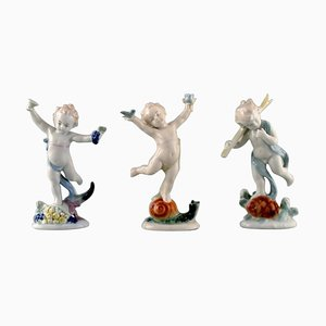 Ilmenau Porcelain Figurines Dancing Boy Children, 1970s, Set of 3