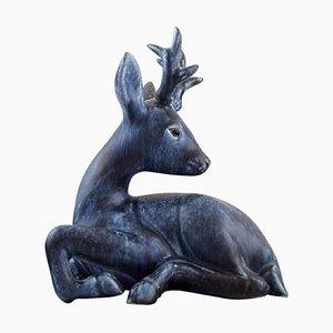 Swedish Deer in Glazed Ceramic by Folke and Elsa Jernberg, 1960s