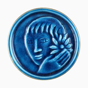 Ceramic Plaque with Face of a Woman by Jais Nielsen for Royal Copenhagen, 1930s