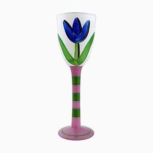 Handbemaltes Weinglas von Ulrica Hydman Vallien für Kosta Boda, 1980er