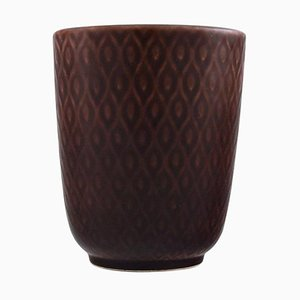 Vintage Marselis Faience Vase with Geometric Pattern by Nils Thorsson for Alumina