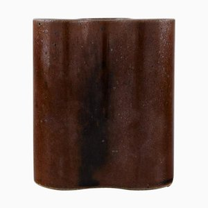 Cubist Ceramic Vase with Glaze in Brown Shades from Knabstrup Ateliér, 1970s
