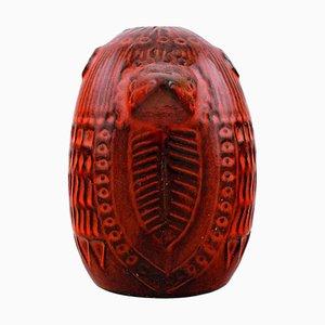 Figure of Bird Red Glazed Ceramic by Mari Simmulson for Upsala Ekeby, 20th Century