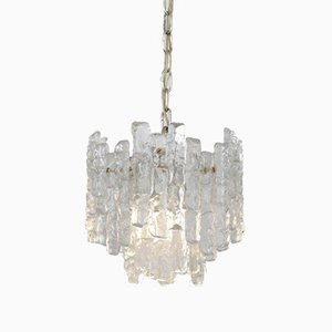 Austrian Iced Glass Ceiling Lamp by J. T. Kalmar for Kalmar, 1970s