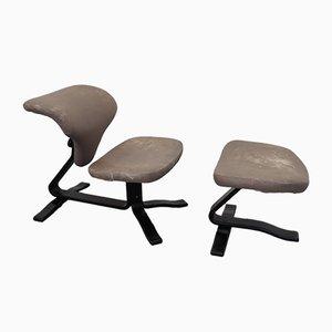 Norwegischer Vintage Sessel und Fußhocker von Stokke, 1970er