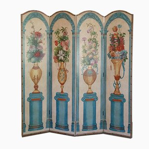 Biombo pintado a mano con cuatro paneles, años 50
