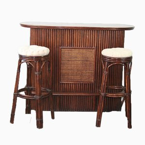 Vintage Rattan Bar Table & Stools, Set of 3