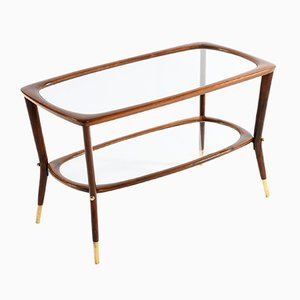 Italian Coffee Table with Double Glass Shelf & Brass Details, 1950s