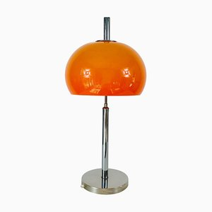 Large Orange and Chrome Mushroom Table Lamp, 1970s