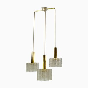 German Crystal Ice Glass Cascade Pendant Lamp from Doria Leuchten, 1960s