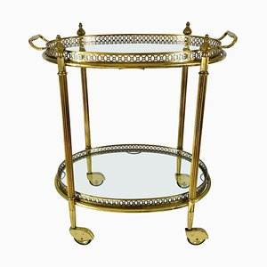 French Brass and Glass Bar Cart or Drink Trolley with Removable Tray, 1950s