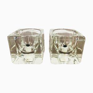 Durchsichtige Eisglas Würfel Tischlampe von Peill & Putzler, 1970er, 2er Set