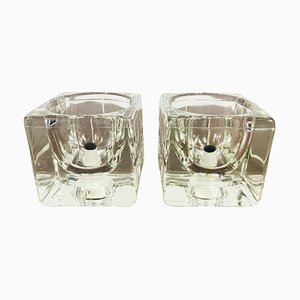Transparent Ice Glass Cube Table Lamp from Peill & Putzler, 1970s, Set of 2