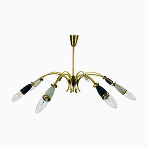 Large Brass 8-Arm Sputnik Chandelier, 1950s