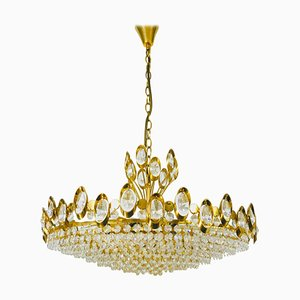 German Golden Gilded Brass and Crystal Glass Chandelier from Palwa, 1960s