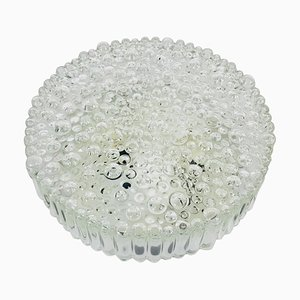 German Bubble Glass Round Flush Mount by Glashütte Limburg, 1960s