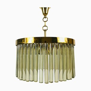 Golden Gilded Brass and Crystal Glass Chandelier by Christoph Palme, 1960s