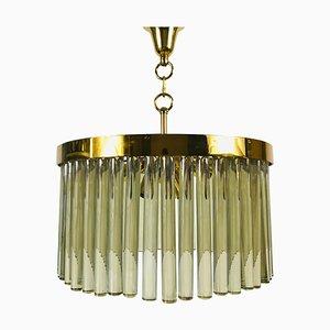 Lampadario in ottone dorato e cristallo di Christoph Palme, anni '60