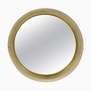 Mid-Century Modern Italian Round Illuminated Brass Wall Mirror, 1960s