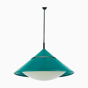 German Opaline Glass and Green Metal Hanging Lamp from Peill & Putzler, 1970s
