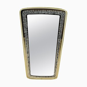 Italian Brass Framed Asymmetrical Wall Mirror, 1960s