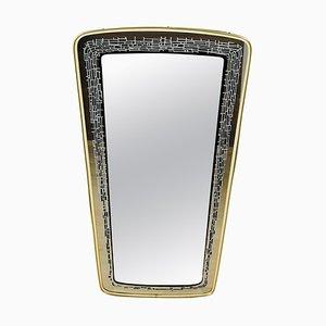 Italian Brass Framed Asymmetrical Wall Mirror, 1960s
