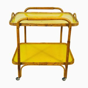 German Yellow Bamboo Bar Cart, 1950s