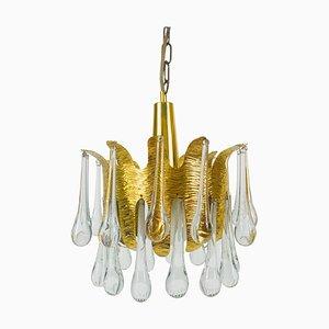 Kronleuchter aus vergoldetem Messing & Kristallglas von Ernst Palme für Palwa, 1960er