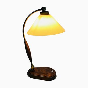 Art Deco German Wooden Table Lamp, 1940s