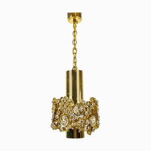 German Gilt Brass and Crystal Glass Chandelier from Palwa, 1970s