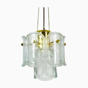 Large Mid-Century Two-Tier Brass and Ice Glass Chandelier from Limburg, 1960s