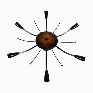 Grand Lustre Sputnik à 6 Bras Mid-Century en Bois, 1950s
