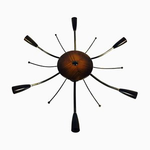 Large Mid-Century Wooden 6-Arm Sputnik Chandelier, 1950s