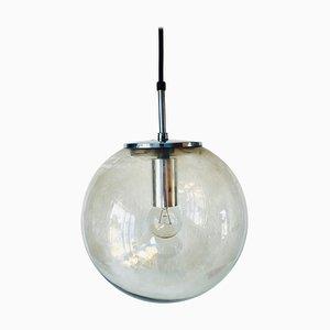 Grande Lampe à Suspension Ball en Verre de Glashütte Limburg, 1970s