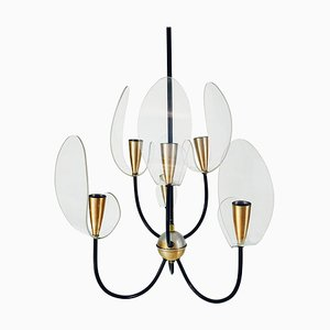 Mid-Century 2-Tier Brass 6-Arm Sputnik Chandelier, 1960s