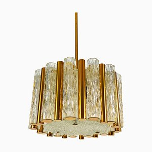 Mid-Century Crystal Ice Glass Round Chandelier from Kaiser Leuchten, 1960s