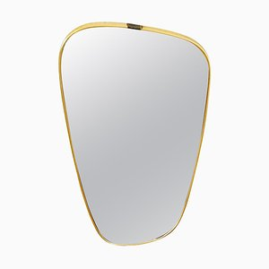 Italian Brass Asymmetrical Wall Mirror, 1960s