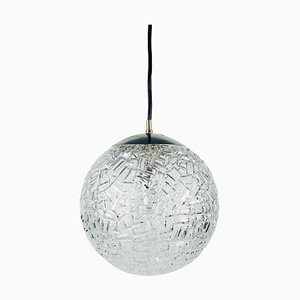 Round Ice Glass Crystal Pendant Lamp from Peill and Putzler, 1960s