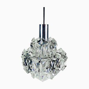 German Crystal Ice Glass Chandelier from Kinkeldey, 1960s
