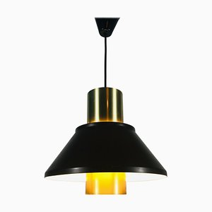 Brown Metal and Brass Pendant Lamp from Fog and Morup, 1970s