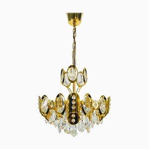 Deutscher Vergoldeter Messing und Kristallglas Kronleuchter von Palwa, 1960er