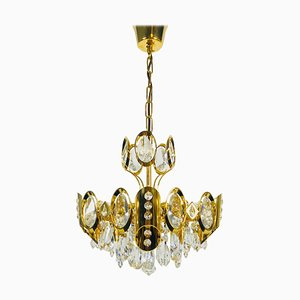 German Gilded Brass and Crystal Glass Chandelier from Palwa, 1960s