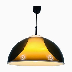 Brown and White Acrylic Glass Pendant Lamp in the Style of Temde, 1970s
