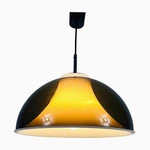 Lampe à Suspension Marron & Blanche en Acrylique dans le Style de Temde, 1970s