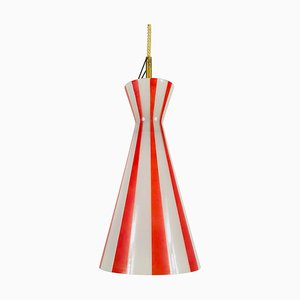 Italian Diabolo Red and White Glass Chandelier, 1950s