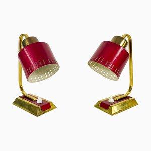 Lampade da tavolo Mid-Century moderne in ottone e rosso, anni '60, set di 2