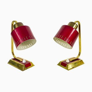 Mid-Century Modern Brass and Red Table Lamps, 1960s, Set of 2
